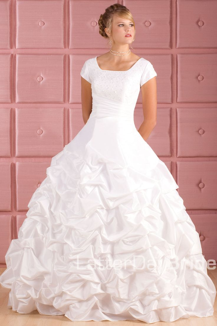 17 best images about lds temple bridal dresses on for Mormon modest wedding dresses