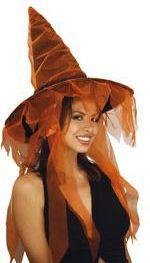 Sombrero tela adulto Bruja con velo tul naranja