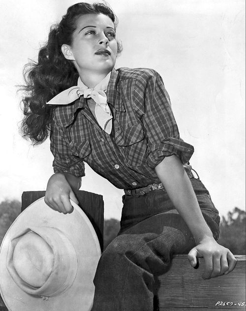 Gail Russell in plaid western shirt.  Vintage western wear