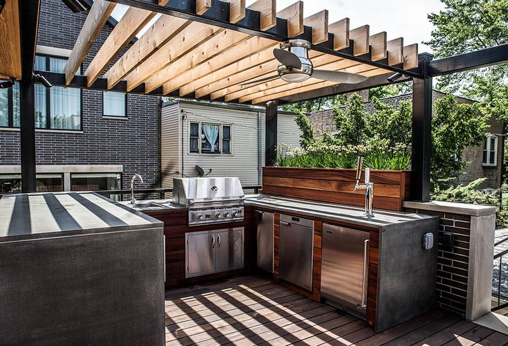 This outdoor space has it all for the contemporary family that loves to entertain.  The foundation of the space is the concrete and ipe outdoor kitchen complete with a grill, warming drawer, ice-maker, refrigerator, and kegerator.  We combined a pergolaRead More ›
