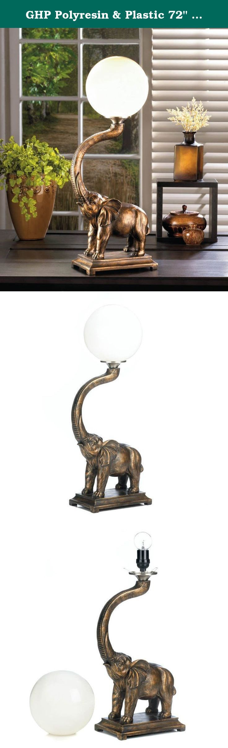 "GHP Polyresin & Plastic 72"" Power Cord Trumpeting Elephant Globe Lamp. Features: This trumpeting elephant will add charm to your décor while illuminating your living space. the polyresin base features a mighty elephant trumpeting with a white globe light balancing on the end of his trunk. Item weight: 6.6 lbs. Polyresin and plastic. UL recognized. 8 1/2"" x 5"" x 24 1/2"" high; 72"" long power cord. 15W Type A light bulb not included."
