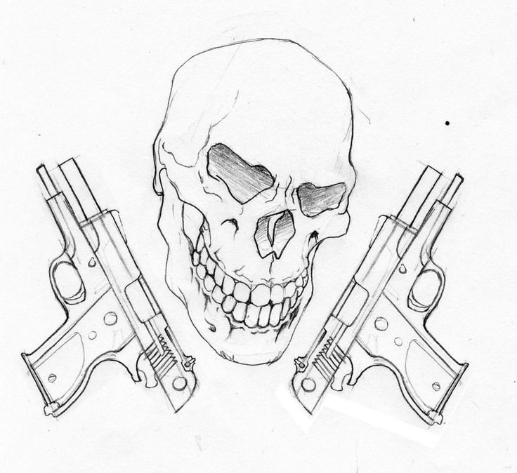 Drawings Easy Skull With Guns
