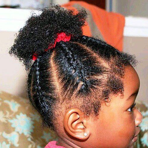black little girl's braided hairstyle for short hair