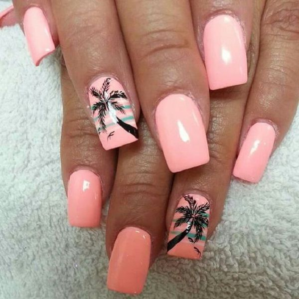 Melon themed Palm Tree Nail Art design. The nails are painted in matte melon colors. There are tiny palm trees in silhouettes with birds flying in the horizon painted on top of some strips of blue green polish.