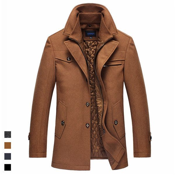 Winter Business Casual Double Collar Thicken Warm Pure Color Wool... (205 BRL) ❤ liked on Polyvore featuring men's fashion, men's clothing, men's outerwear, men's coats, camel, mens wool outerwear, mens wool coats, mens fur collar coat, mens camel coat and mens fur lined coat