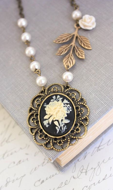 This is beautiful!!! (Flower Cameo Necklace Black Cameo Pendant Ivory)