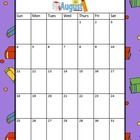 Free! Holiday theme calendars run for the 2013-2014 school year (August to July).  Each calendar has a holiday theme background.