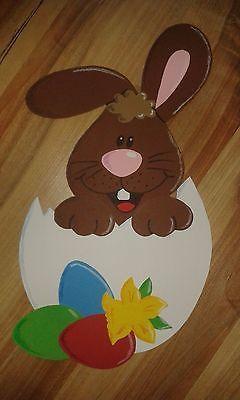 Schönes Fensterbild Hase Häschen im Ei Osterglocken Ostern Tonkarton Handarbeit