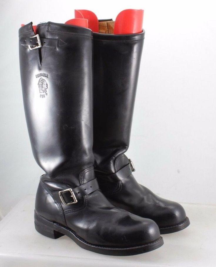 Chippewa black leather biker engineer boots size 105 d
