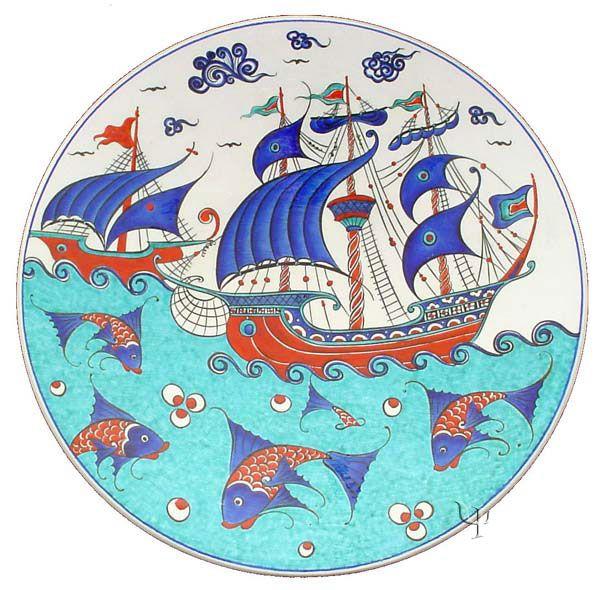Iznik Design Ceramic Plate - Kalyon yurdan.com