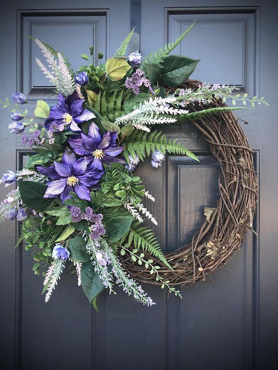 Purple Spring Wreaths Purple Door Wreaths Spring Wreath Spring Wreaths