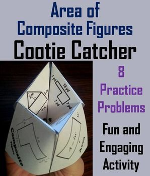 This cootie catcher is a great way for students to have fun while they practice their skills with calculating area.  How to Play and Assembly Instructions are included.Problems allow students to calculate area using equations for triangles and for rectangles.