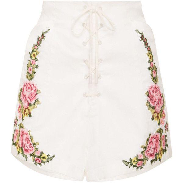 West Coast Shorts   Moda Operandi ($220) ❤ liked on Polyvore featuring shorts, high waisted shorts, embroidered shorts, high-waisted shorts, high-rise shorts and high rise shorts