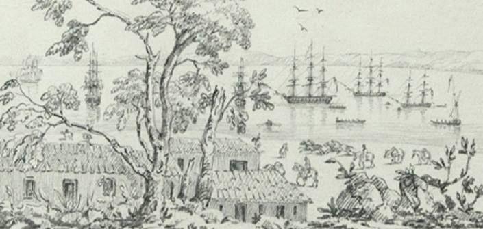 Dibujo de la Vista del Puerto De Valparaíso desde el Almendral, año 1824