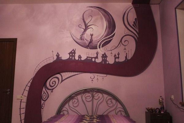 寝室の壁にお絵かき!ブラックライトで光る蛍光塗料で描かれた絵 (6)
