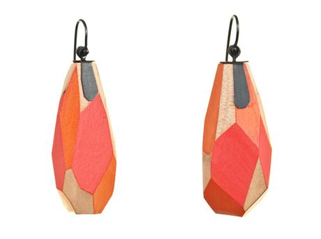 Wooden earrings by Yuko Fujita. faceted and tabbed.... Store - e.g.etal