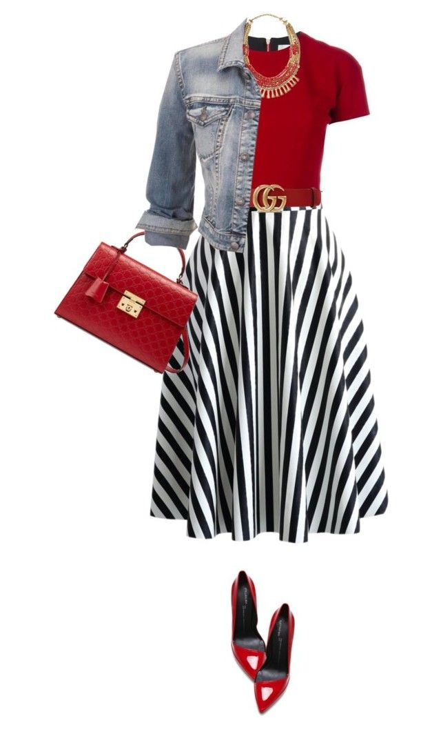 """""""Striped Skirt"""" by marion-fashionista-diva-miller ❤ liked on Polyvore featuring Anthony Vaccarello, Victoria Beckham, Gucci, maurices, stripes, stripedskirt, outfitonly and weekendstyle"""