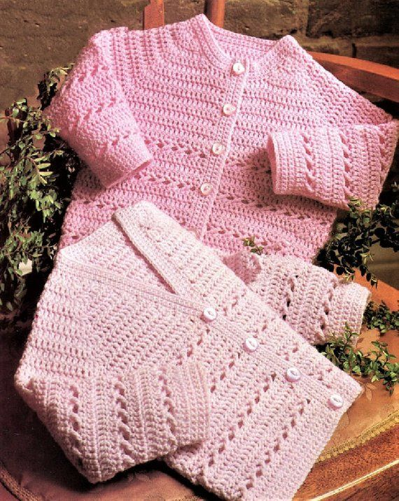8495bceac Vintage Crochet Pattern Baby to Toddler Cardigans Sweaters 2 Styles ...
