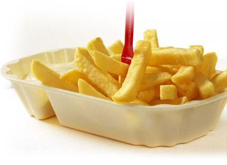 dutch 'patat met', this means fries with mayonaise. Yummie
