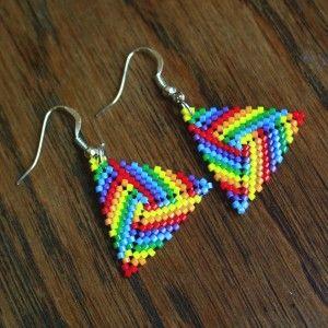 rainbow peyote earrings