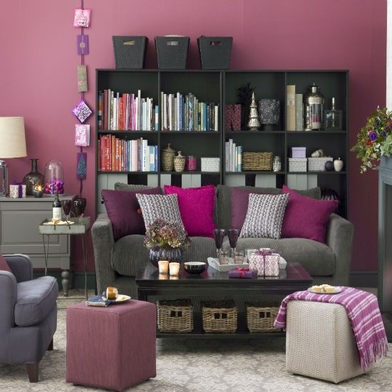 Graphic illusions rug pink accents grey and the purple for Black and purple living room ideas
