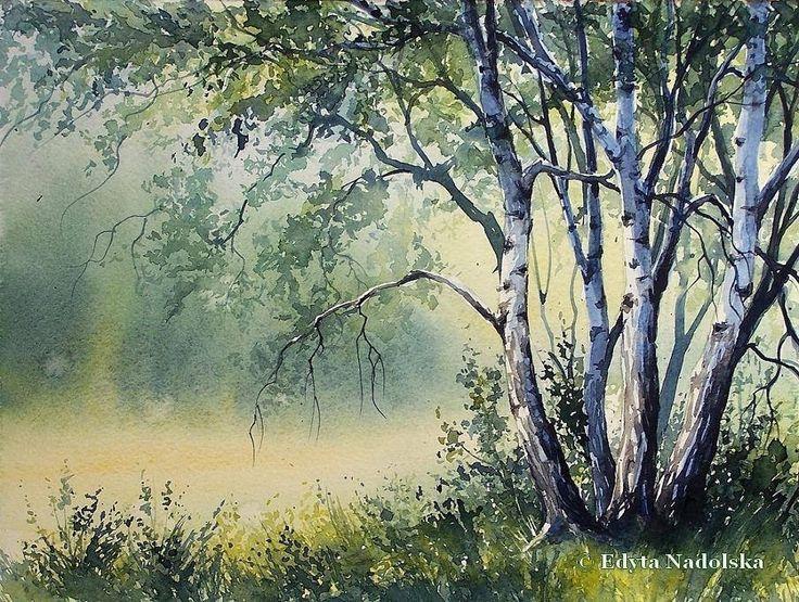 Edyta Nadolska Watercolor Art - 'The June birches', 2016.