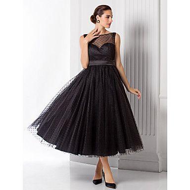 A-line/Princess Bateau Tea-length Tulle Evening Dress (1301053) – USD $ 74.99