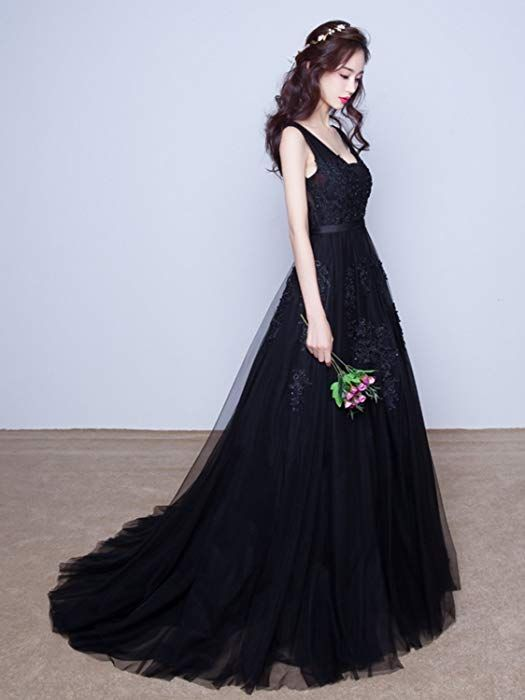 Babyonline Womens Double V-Neck Tulle Appliques Long Evening Cocktail Gowns