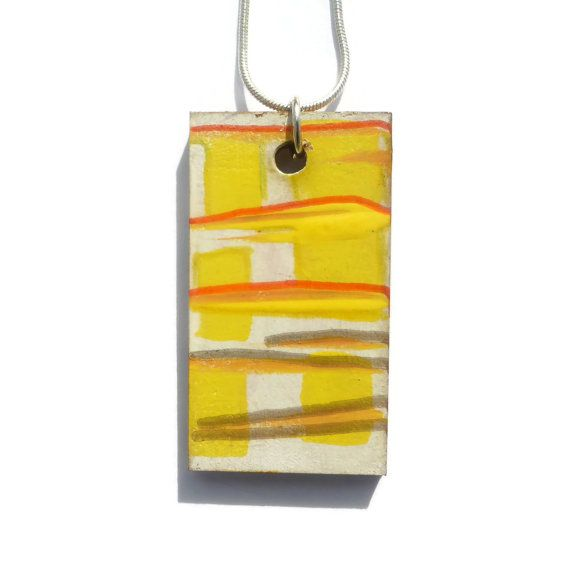 Painted Wood Jewelry, Statement Necklace, Contemporary Jewelry, Christmas Gift, Gift For Her, Artistic Necklace, Art Jewelry, Simple Pendant