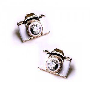 Mini White Camera Miniature Cute Stud Earrings