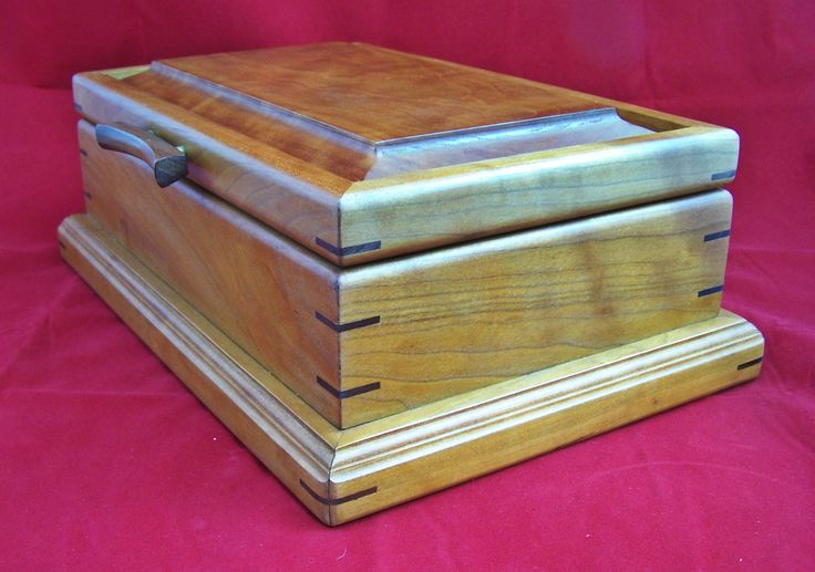 Solid Curly Cherry Trinket Jewelry Box With Removable Lebanon Cedar Trays by countryclassics1875 on Etsy