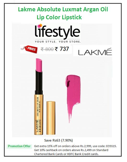 #Lakme #Absolute #Luxmat #Argan #Oil #Lip #Color #Lipstick  #Colour: Freshlypinked #Price: ₹737.00