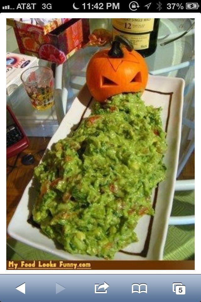 pumpkin guacamole throw up | Pumpkin throwing up guacamole dip