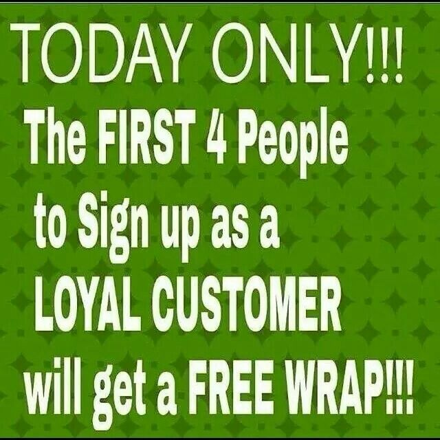 If you've been thinking about trying out one of my products NOW is the time! I don't care what product you sign up for but the first 4 people to sign up as a loyal customer will get a FREE wrap!!! Order today at www.elysia18.itworkseu.com