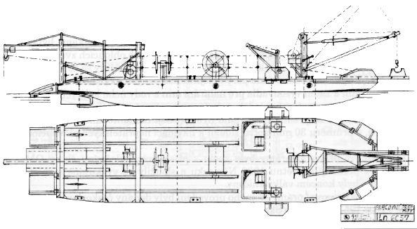 Škoda, Minové pracovní prámy MiP-I a MiP-II. Plán byl nakreslen podle dochovaných výkresu Škodových závodů číslo Ln. 6057 ze srpna 1935.