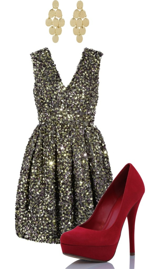 LOVE THE DRESS AND THE POP OF COLOR FROM THE SHOES. HAVE A SKIRT WITH THAT GREEN/GOLD SEQUINS AND WONDERING WHAT COLOR SHOES I COULD USE TO DO IT UP!