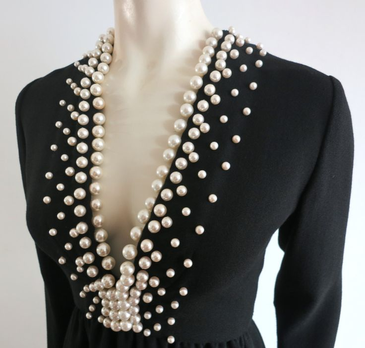 Vintage DONALD BROOKS Pearl beaded black crepe dress | From a collection of rare vintage evening dresses at http://www.1stdibs.com/fashion/clothing/evening-dresses/