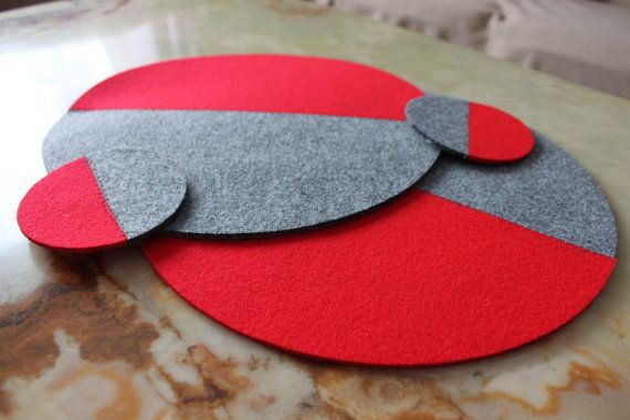 Placemats Two Halves Simple Shape Round Mix Color  Felt Table Mats Set of 2 Sewing