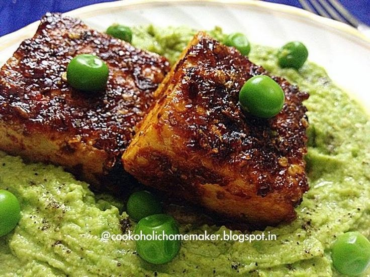Let's Cook!: Harissa crusted tofu with green peas hummus