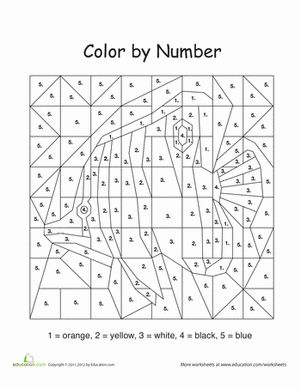 Color by Number Fish Numbers for kids, Worksheets for
