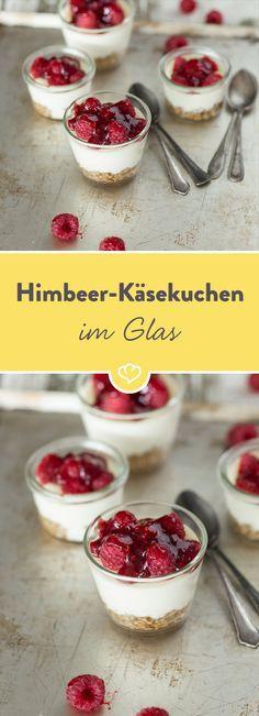Himbeer-Käsekuchen im Glas