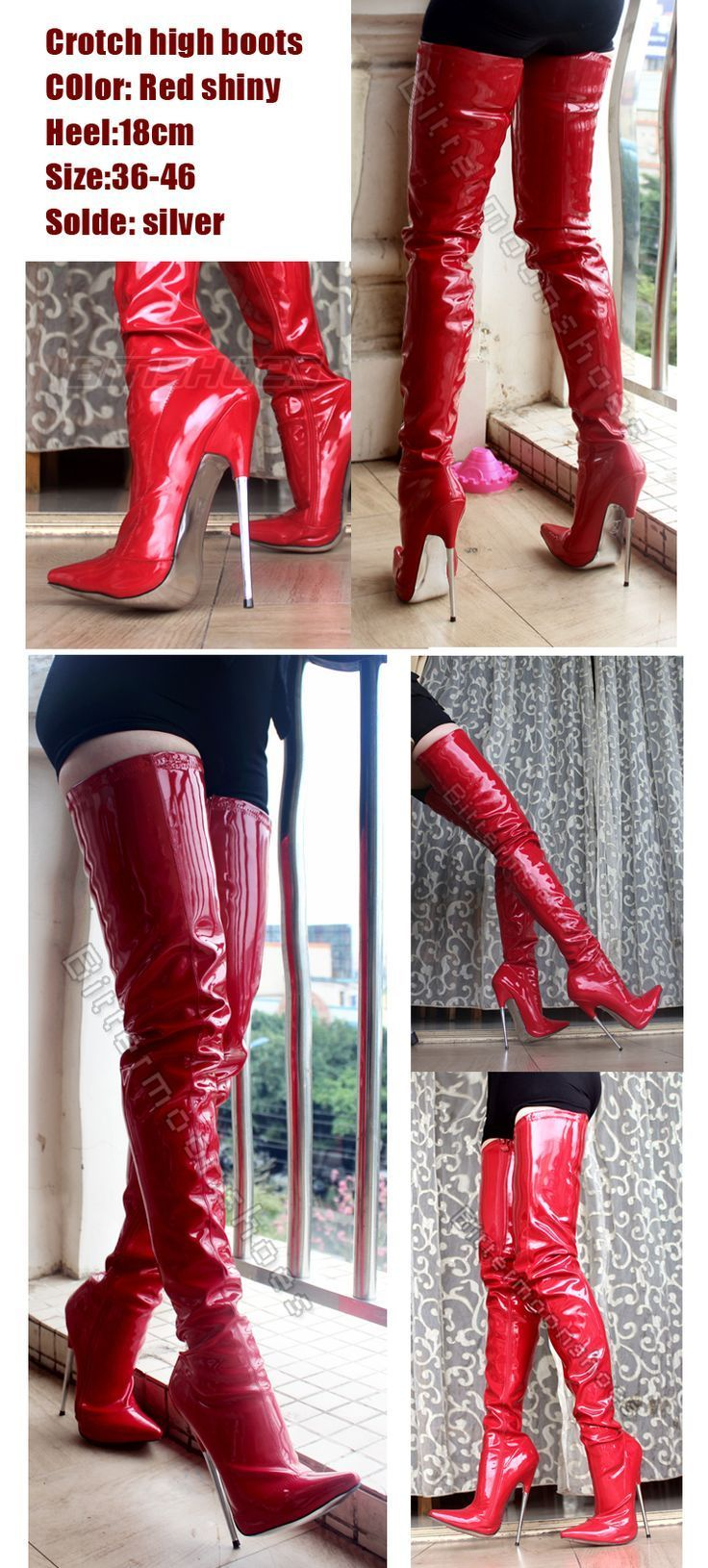 Red patent leather thigh crotch boots