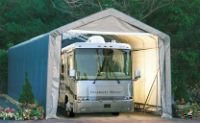 Shelter Logic Portable RV Garage Shelters. **Sizes from 13', 15' Wide and 10', 12', 16' **High at Peak Roof **Heavy Duty - Fully Enclosed **Double Zippered Front & Back Door Panels ** Prices from $997 **Come check out our website explore what we have because there are free shipping both ways you can feel comfortable you are going to get good purchase from us. #garage #carport