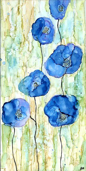 alcohol ink painting, bright colorful on wooden canvas 6 x 12 blue flowers