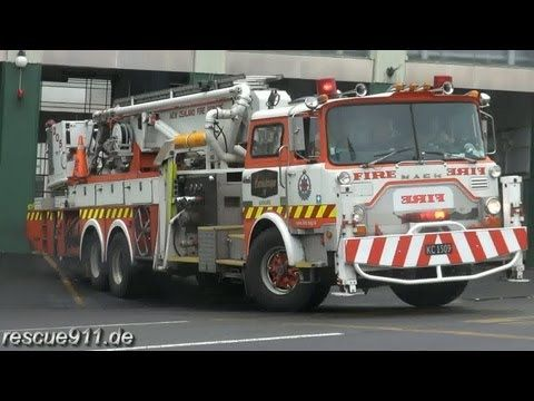 Pump 207 + Aerial 205 New Zealand Fire Service Auckland City Fire Station - YouTube