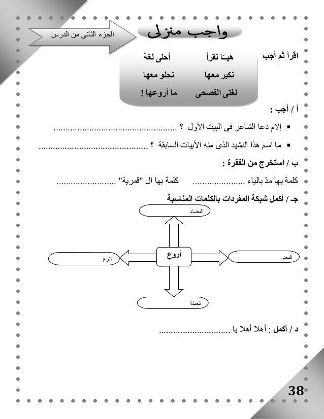 بوكلت المدارس فى اللغة العربية للصف الثالث الابتدائى الفصل الدراسى ال Math Math Equations