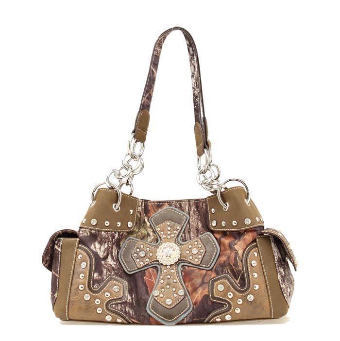 Nocona Ladies' Blazin Roxx Mossy Oak Shoulder Bag N75194222