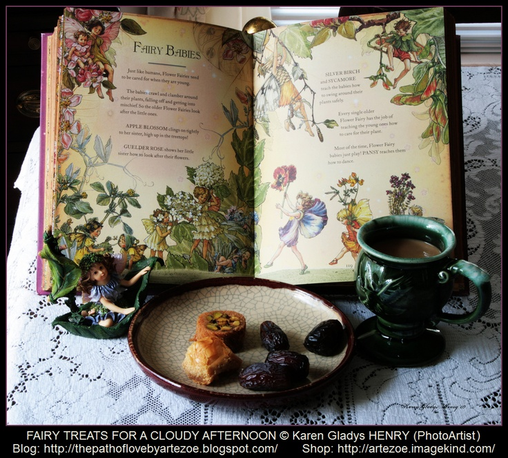"FAIRY TREATS for a Cloudy Afternoon © Karen Gladys HENRY (PhotoArtist)  ... Still Life Tableau. ""The Girls' Book of Flower Fairies"" © Cicely Mary Barker (Artist, England), Published by Frederick Warne. Fairy Statuette. Tea & Pastries.  BLOG:   http://thepathoflovebyartezoe.blogspot.com/    SHOP: http://artezoe.imagekind.com/ArteZoe.imagekind.com"