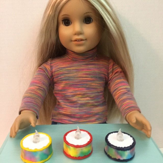 Light up Birthday Cake - Made for 18 inch American Girl Doll Kitchen Food Accessories -Dessert / pastry shop by LexiDollCreations on Etsy