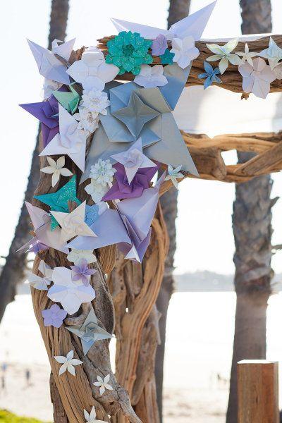 Custom driftwood chuppah with various shaped origami - La Jolla Wedding from Alchemy Fine Events + Samuel Lippke Photography